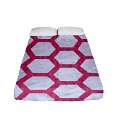HEXAGON2 WHITE MARBLE & PINK DENIM (R) Fitted Sheet (Full/ Double Size)