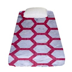 HEXAGON2 WHITE MARBLE & PINK DENIM (R) Fitted Sheet (Single Size)
