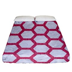 HEXAGON2 WHITE MARBLE & PINK DENIM (R) Fitted Sheet (Queen Size)