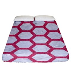 HEXAGON2 WHITE MARBLE & PINK DENIM (R) Fitted Sheet (King Size)