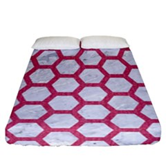 HEXAGON2 WHITE MARBLE & PINK DENIM (R) Fitted Sheet (California King Size)