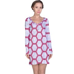 HEXAGON2 WHITE MARBLE & PINK DENIM (R) Long Sleeve Nightdress