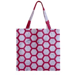 HEXAGON2 WHITE MARBLE & PINK DENIM (R) Zipper Grocery Tote Bag