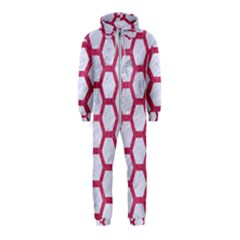 HEXAGON2 WHITE MARBLE & PINK DENIM (R) Hooded Jumpsuit (Kids)