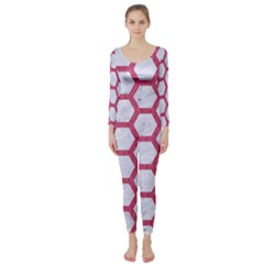 HEXAGON2 WHITE MARBLE & PINK DENIM (R) Long Sleeve Catsuit