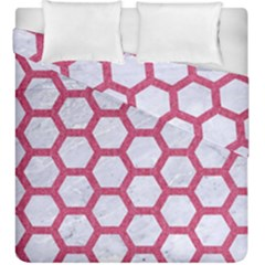 HEXAGON2 WHITE MARBLE & PINK DENIM (R) Duvet Cover Double Side (King Size)