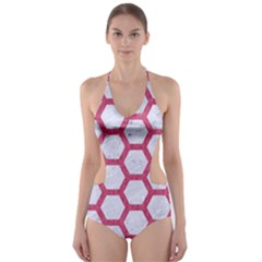 HEXAGON2 WHITE MARBLE & PINK DENIM (R) Cut-Out One Piece Swimsuit
