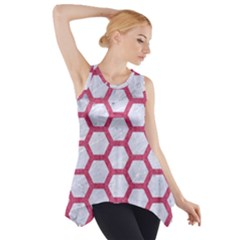 HEXAGON2 WHITE MARBLE & PINK DENIM (R) Side Drop Tank Tunic