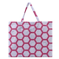 HEXAGON2 WHITE MARBLE & PINK DENIM (R) Zipper Large Tote Bag