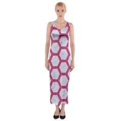 HEXAGON2 WHITE MARBLE & PINK DENIM (R) Fitted Maxi Dress