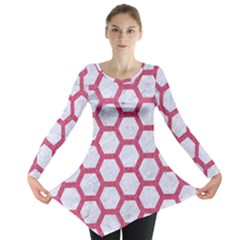 HEXAGON2 WHITE MARBLE & PINK DENIM (R) Long Sleeve Tunic