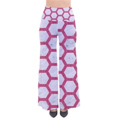 HEXAGON2 WHITE MARBLE & PINK DENIM (R) So Vintage Palazzo Pants
