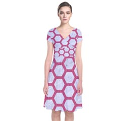 HEXAGON2 WHITE MARBLE & PINK DENIM (R) Short Sleeve Front Wrap Dress