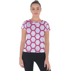 HEXAGON2 WHITE MARBLE & PINK DENIM (R) Short Sleeve Sports Top