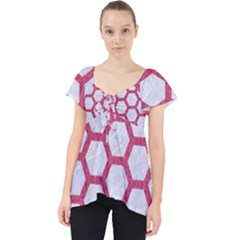 HEXAGON2 WHITE MARBLE & PINK DENIM (R) Lace Front Dolly Top