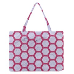 Hexagon2 White Marble & Pink Denim (r) Zipper Medium Tote Bag by trendistuff