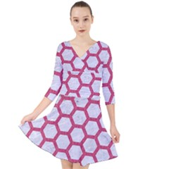 HEXAGON2 WHITE MARBLE & PINK DENIM (R) Quarter Sleeve Front Wrap Dress