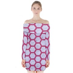 HEXAGON2 WHITE MARBLE & PINK DENIM (R) Long Sleeve Off Shoulder Dress