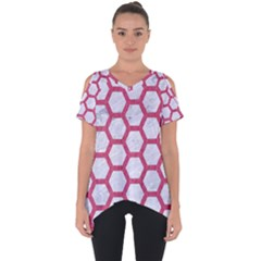HEXAGON2 WHITE MARBLE & PINK DENIM (R) Cut Out Side Drop Tee