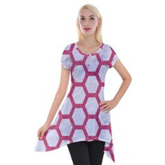 HEXAGON2 WHITE MARBLE & PINK DENIM (R) Short Sleeve Side Drop Tunic