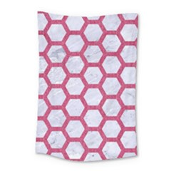 HEXAGON2 WHITE MARBLE & PINK DENIM (R) Small Tapestry