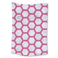HEXAGON2 WHITE MARBLE & PINK DENIM (R) Large Tapestry