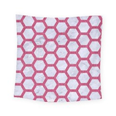 HEXAGON2 WHITE MARBLE & PINK DENIM (R) Square Tapestry (Small)