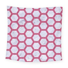 HEXAGON2 WHITE MARBLE & PINK DENIM (R) Square Tapestry (Large)