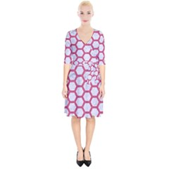 HEXAGON2 WHITE MARBLE & PINK DENIM (R) Wrap Up Cocktail Dress