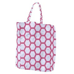 HEXAGON2 WHITE MARBLE & PINK DENIM (R) Giant Grocery Zipper Tote