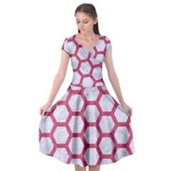 HEXAGON2 WHITE MARBLE & PINK DENIM (R) Cap Sleeve Wrap Front Dress