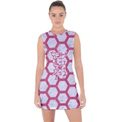 HEXAGON2 WHITE MARBLE & PINK DENIM (R) Lace Up Front Bodycon Dress