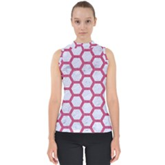 HEXAGON2 WHITE MARBLE & PINK DENIM (R) Shell Top