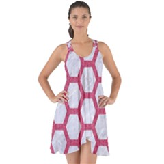 HEXAGON2 WHITE MARBLE & PINK DENIM (R) Show Some Back Chiffon Dress