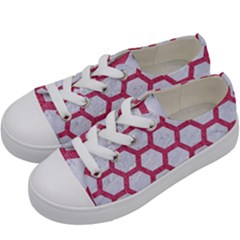 HEXAGON2 WHITE MARBLE & PINK DENIM (R) Kids  Low Top Canvas Sneakers