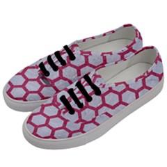 HEXAGON2 WHITE MARBLE & PINK DENIM (R) Men s Classic Low Top Sneakers