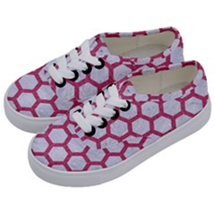 HEXAGON2 WHITE MARBLE & PINK DENIM (R) Kids  Classic Low Top Sneakers