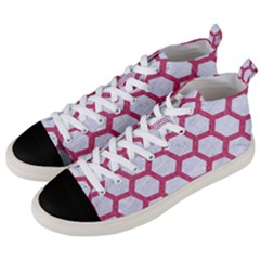 HEXAGON2 WHITE MARBLE & PINK DENIM (R) Men s Mid-Top Canvas Sneakers