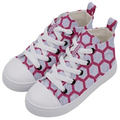 HEXAGON2 WHITE MARBLE & PINK DENIM (R) Kid s Mid-Top Canvas Sneakers