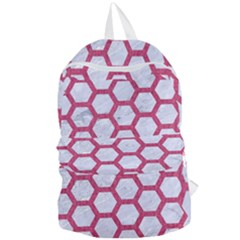 HEXAGON2 WHITE MARBLE & PINK DENIM (R) Foldable Lightweight Backpack