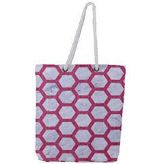HEXAGON2 WHITE MARBLE & PINK DENIM (R) Full Print Rope Handle Tote (Large)