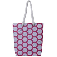 HEXAGON2 WHITE MARBLE & PINK DENIM (R) Full Print Rope Handle Tote (Small)