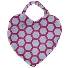 HEXAGON2 WHITE MARBLE & PINK DENIM (R) Giant Heart Shaped Tote
