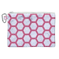 HEXAGON2 WHITE MARBLE & PINK DENIM (R) Canvas Cosmetic Bag (XL)