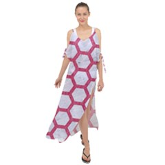 HEXAGON2 WHITE MARBLE & PINK DENIM (R) Maxi Chiffon Cover Up Dress
