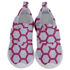 HEXAGON2 WHITE MARBLE & PINK DENIM (R) Velcro Strap Shoes