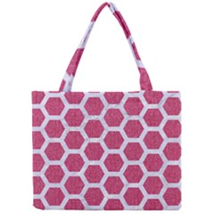 Hexagon2 White Marble & Pink Denim Mini Tote Bag by trendistuff
