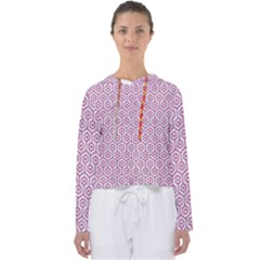 Hexagon1 White Marble & Pink Denim (r) Women s Slouchy Sweat
