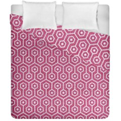 Hexagon1 White Marble & Pink Denim Duvet Cover Double Side (california King Size) by trendistuff