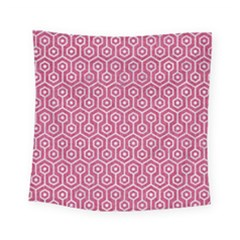 Hexagon1 White Marble & Pink Denim Square Tapestry (small)